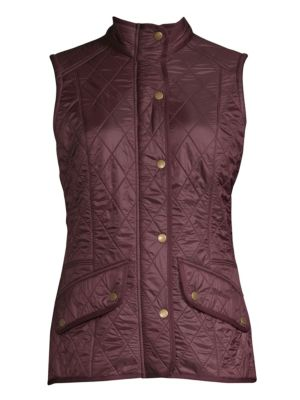 BARBOUR Diamond-Quilted Cavalry Gilet in Purple