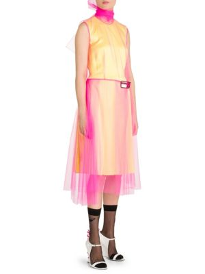 Layered Tulle And Silk-Satin Dress, Fuxia Lemon