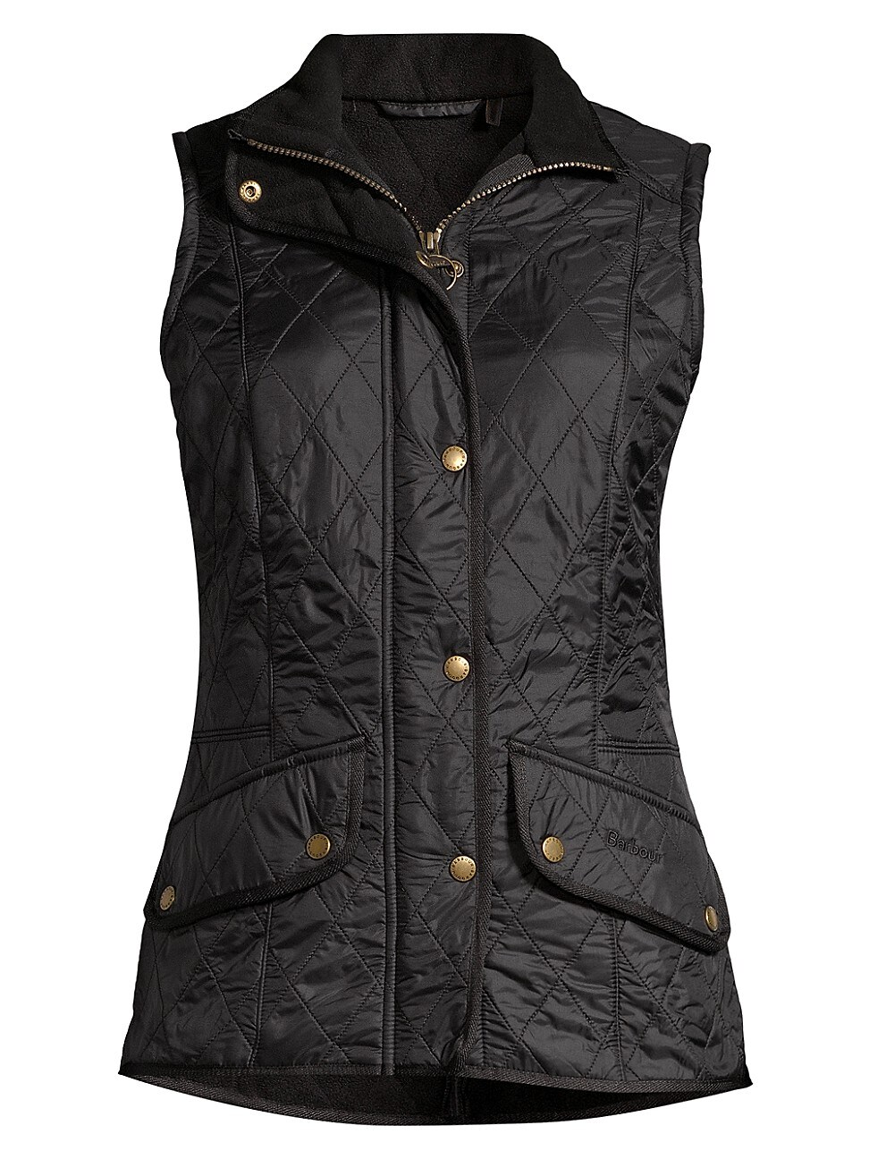 Barbour Quilted Fleece-lined Vest In Black