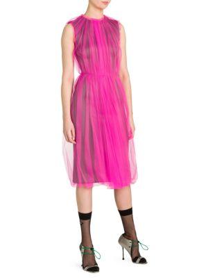 Sleeveless Tulle Overlay Dress by Prada