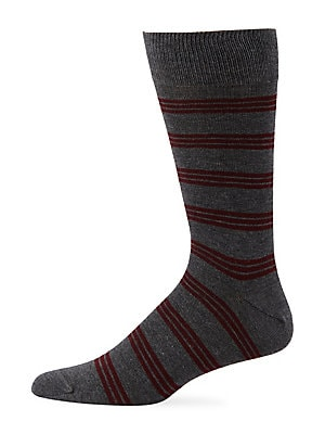 Image of ONLY AT SAKS. Ribbed sock with a classic horizontal stripes. Sweat wicking Ribbed trim Cotton/nylon/coolmax fabric/lycra Dry clean Made in Italy. Mens Pvt Brands - Sfamc Personal Furnishin. Saks Fifth Avenue. Color: Black Blue.