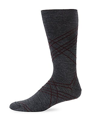 Image of ONLY AT SAKS. Ribbed sock with a subtle horizontal stripes. Sweat wicking Ribbed trim Cotton/nylon/coolmax fabric/lycra Dry clean Made in Italy. Mens Pvt Brands - Sfamc Personal Furnishin. Saks Fifth Avenue. Color: Dark Grey Blue.