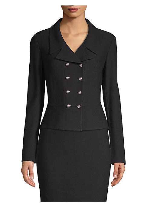 Image of Textured-knit blazer in a double-breasted design with a sleek, fitted silhouette exudes chic, effortless style. Cut from a luxe wool-blend with textured buttons that catch the light. Notched collar. Long sleeves. Doubled-breasted button front. Fit seams.