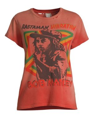 MADE WORN Bob Marley Distressed Printed Cotton-Jersey T-Shirt in Red