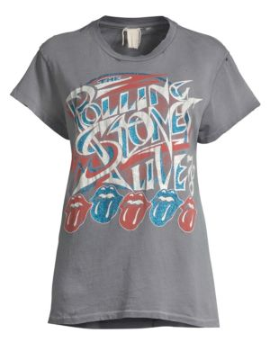MADEWORN Faded Rolling Stones Crewneck Tee in Grey
