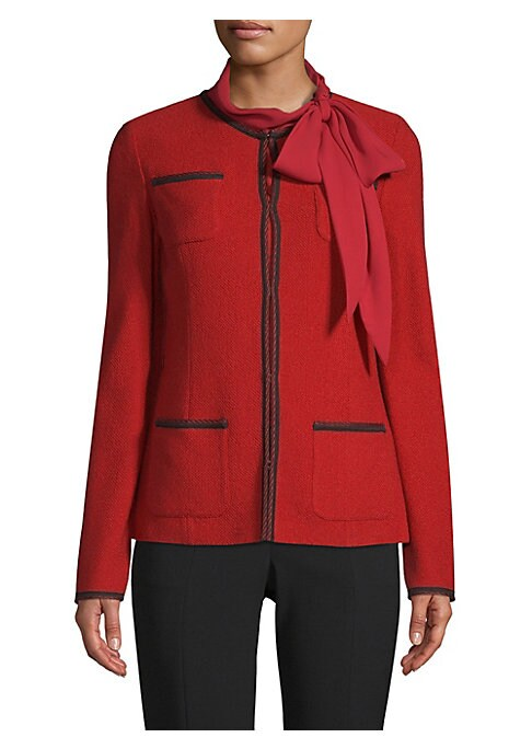 Image of Textured-knit jacket with discrete hook-and-eye closure delivers effortless elegance in a soft design. Crafted from a luxe wool-blend with contrast stitching on the pocket and jacket edges. Fit seams keeps the look streamlined yet relaxed. Collarless. Lon