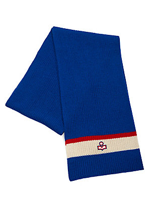 """Image of Colorblock stripes add striking trim to wool knit scarf 9.84""""W x 74.8""""L Wool Dry clean Imported. Soft Accessorie - Cold Weather Accessories. Isabel Marant. Color: Red."""