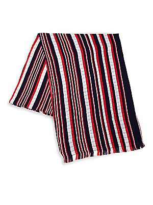 "Image of Tonal stripes adorn scarf in colorblock formation 27.6""W x 78.7""L Cotton Dry clean Imported. Soft Accessorie - Cold Weather Accessories. Isabel Marant. Color: Midnight."