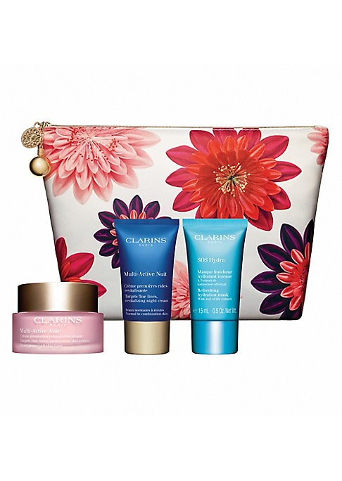 Image of $102 VALUE. WHAT IT IS. Limited edition gift set with Multi-Active Day and Night formulas that are powered by revitalizing Teasel extract to fight fine lines, the effects of daytime stress and lack of sleep, so skin glows. Made in France. WHO IT'S FOR. Id