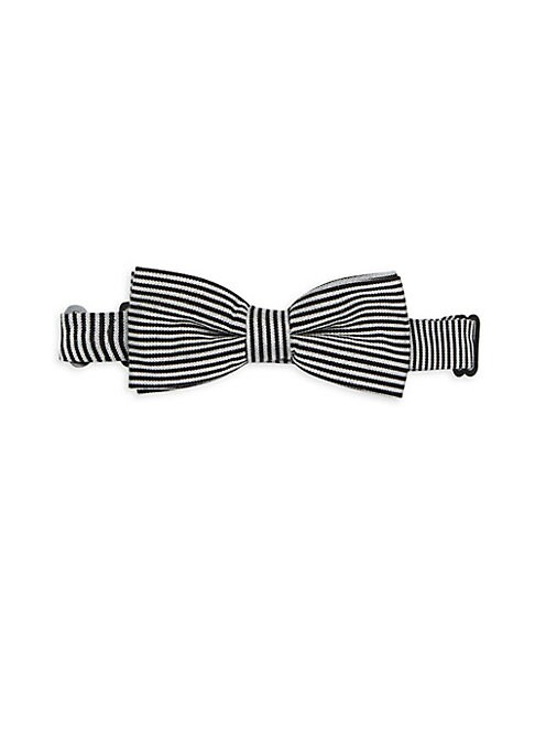 Image of Classic bow tie defined by graphic stripes. Adjustable with clasp closure. Wool/silk. Dry clean. Imported.