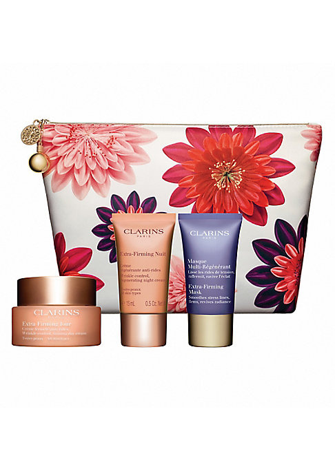 Image of $130 VALUE. WHAT IT IS. Limited edition gift set with formulas powered by Kangaroo flower, an age-defying plant extract that visibly lifts to minimize the look of wrinkles. Made in France. WHO IT'S FOR. Ideal for all skin types. FOUR-PIECE SET INCLUDES. E