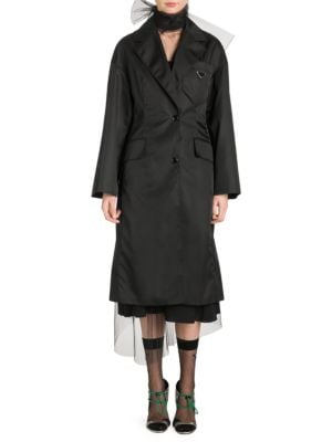 Tech-Gabardine Long Overcoat - Black Size Xs
