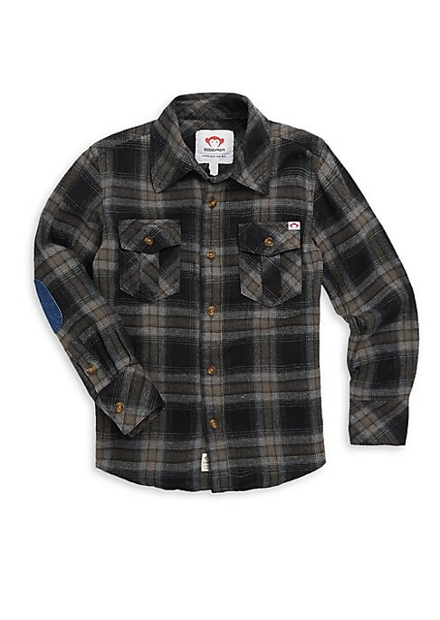 Image of Classic flannel shirt is an essential. Spread collar. Long sleeves. Buttoned cuffs. Button front. Chest buttoned flap pockets. Shirttail hem. Cotton. Machine wash. Imported.