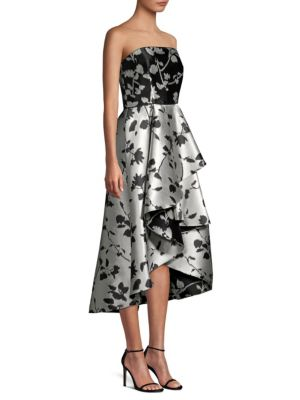 SHOSHANNA Isbell Strapless Fit-And-Flare Floral-Jacquard High-Low Cocktail Dress in Jet Black Ivory
