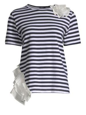 Clu Mixed Media Ruffle & Stripe T-Shirt