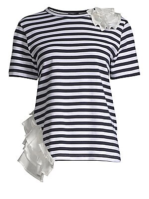 """Image of Eye-catching ruffles embelish this classic stripe tee Roundneck Short sleeves Ruffle details on shoulder and hip Pullover style About 24"""" from shoulder to hem Cotton/polyester Dry clean Made in USA Model shown is 5'10"""" (177cm) wearing US size Small. Conte"""