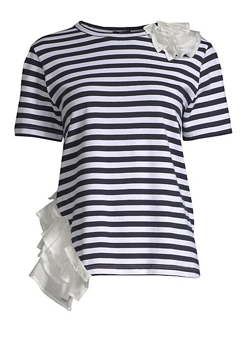 """Image of Eye-catching ruffles embelish this classic stripe tee. Roundneck. Short sleeves. Ruffle details on shoulder and hip. Pullover style. About 24"""" from shoulder to hem. Cotton/polyester. Dry clean. Made in USA. Model shown is 5'10"""" (177cm) wearing US size Sma"""