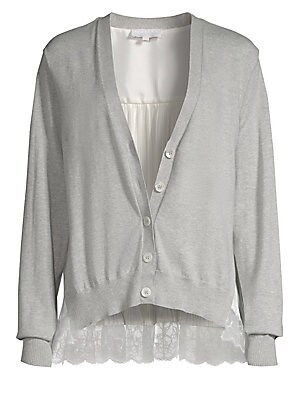 """Image of V-neck cardigan with lace pleated back V-neck Long sleeves Button-front About 25"""" from shoulder to hem Cotton/cashmere Contrast 1: Nylon Contrast 2: Polyester Dry clean Imported Model shown is 5'10 (177cm) wearing US size 4. Contemporary Sp - Trend > Saks"""