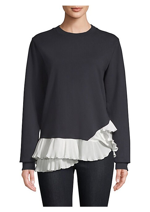 """Image of Knit sweatshirt with contrast pleated ruffle trim. Crewneck. Long sleeves. Pullover style. About 26"""" from shoulder to hem. Rayon/cotton/spandex. Contrast: Polyester. Dry clean. Made in USA. .Model shown is 5'10"""" (177cm) wearing US size 4. ."""