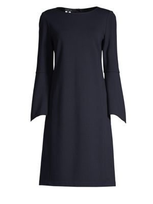 Paloma Punto Milano Dress W/ Trumpet Sleeves in Ink
