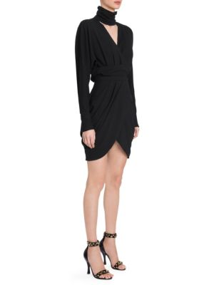 Long-Sleeve High-Collar V-Neck Faux-Wrap Cocktail Dress, Black