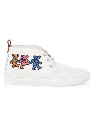 DEL TORO Grateful Dead Marching Bears Leather Chukka Sneakers in White