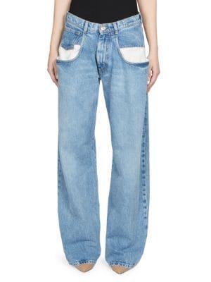 Paneled Boyfriend Jeans, Denim