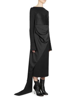 Satin Bustier Asymmetric Midi Dress, Black