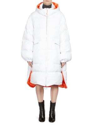 Water Repellent Oversized Parka, White