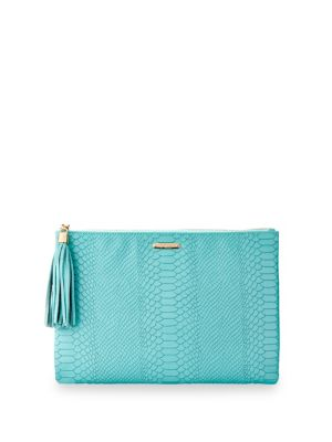 Uber Personalized Embossed Leather Clutch, Bermuda Blue