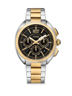 FENDI Momento Chronograph Bracelet Watch, 46Mm, Silver/ Black/ Gold