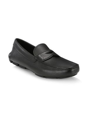 Men'S Saffiano Leather Driver Shoes in Black