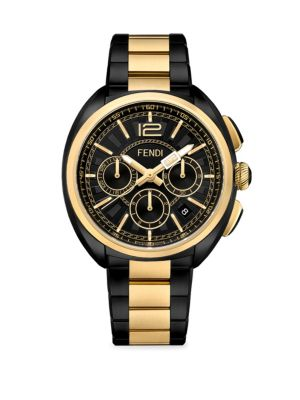 90a345f5bfc1 Fendi Momento Chronograph Bracelet Watch, 46Mm In Black  Gold ...