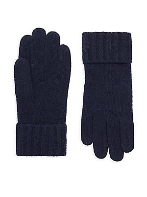 Image of Classic gloves knit from cashmere Cashmere Roll cuffs Dry clean Imported. Soft Accessorie - Cold Weather Accessories. Portolano. Color: Uniformnavy.