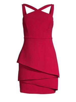 BCBG MAX AZRIA Strap-Detail Crepe Dress - 100% Exclusive in Sangria