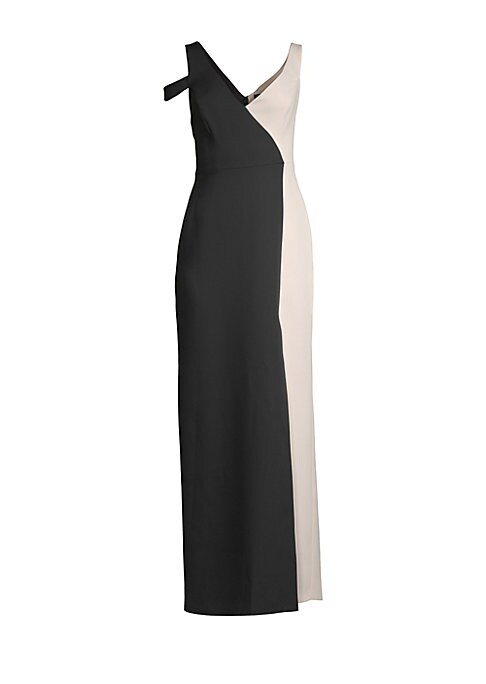 "Image of Bold color blocking modernizes sophisticated gown.V-neck. Shoulder straps. Cold-shoulder cutout. Concealed back zip with hook-and-eye closure. Front slit. About 61"" from shoulder to hem. Polyester/spandex. Dry clean. Imported. Model shown is 5'10"" (177cm)"