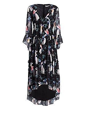 """Image of Charming floral printed dress with deep plunging neckline features feminine ruffles from top to bottom. V-neck Sleeveless Front cascading ruffles Concealed back zip Tiered ruffle hem Polyester Dry clean Imported SIZE & FIT About 50"""" from shoulder to hem M"""