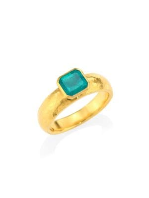 GURHAN Rainbow Hue 24K Yellow Gold Square Faceted Emerald Ring