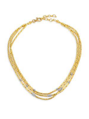 GURHAN Vertigo Pavé Triple Strand Diamond Pavé Necklace in Yellow Gold