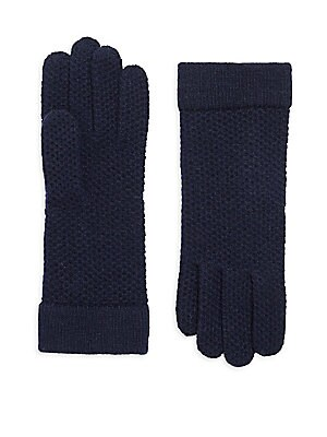 Image of Cashmere knit gloves in honeycomb textures Stitching details Cashmere Dry clean Imported SIZE About 10 long. Soft Accessorie - Cold Weather Accessories. Portolano. Color: Black.