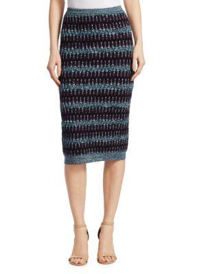 Stripe Merino Wool & Cotton Skirt in Navy/Bordeaux