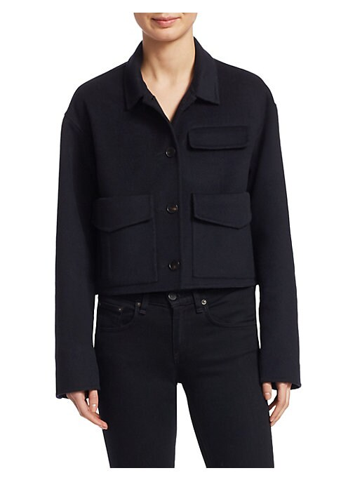 "Image of Cropped military-inspired coat in cozy wool-cashmere fabric. Point collar. Long sleeves. Button front. Two front patch pockets. Chest flap. About 25"" from shoulder to hem. Wool/cashmere. Imported. Model shown is 5'10"" (177cm) wearing size Small."