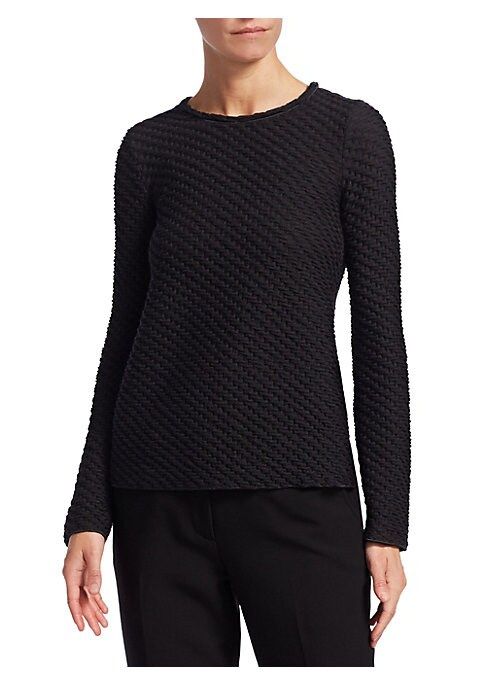 """Image of Cut to a fitted silhouette, this minimalist staple is made from a stretch wool-blend and features luxe smocked texture. Crewneck. Long sleeves. Virgin wool/acrylic/polyamide/elastane. Dry clean. Made in Italy. SIZE & FIT. About 23"""" from shoulder to hem. M"""
