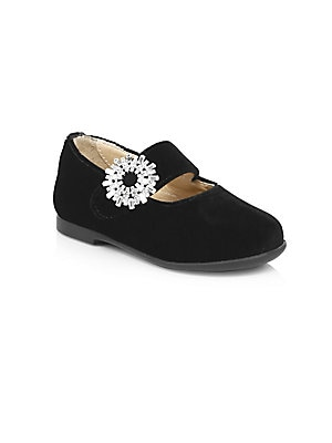 Image of Crystal-embellished buckle details elevate ballet loafers Silk, viscose, crystal and cotton upper Round toe Slip-on style Synthetic lining and sole Made in Italy. Children's Wear - Children's Shoes. Aquazzura Mini. Color: Black. Size: 32 EU/ 1 US (Child).