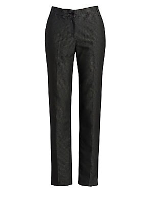 Image of These chic cotton-blend pants boast an allover microdot pattern, making them an easy stand-in for the classic black cigarette pant. A tapered silhouette paired with a cropped length make for an undeniably chic trouser. Belt loops Zip front with button clo