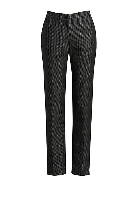 Image of These chic cotton-blend pants boast an allover microdot pattern, making them an easy stand-in for the classic black cigarette pant. A tapered silhouette paired with a cropped length make for an undeniably chic trouser. Belt loops. Zip front with button cl