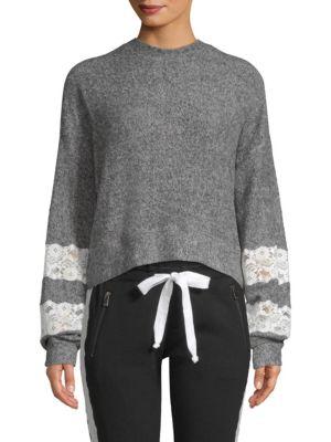 Fleece Lace-Trim Sweatshirt, Grey