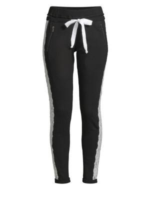 Lace-Stripe Jogging Trousers, Black