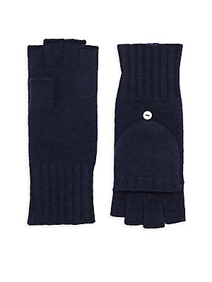 Image of Flip-top mittens crafted from cashmere Cashmere Dry clean Improted. Soft Accessorie - Cold Weather Accessories. Portolano. Color: Uniform Navy.