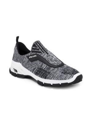 PRADA Men'S Nylon Tech Mouline Cross-Section Slip-On Sneakers, White Black